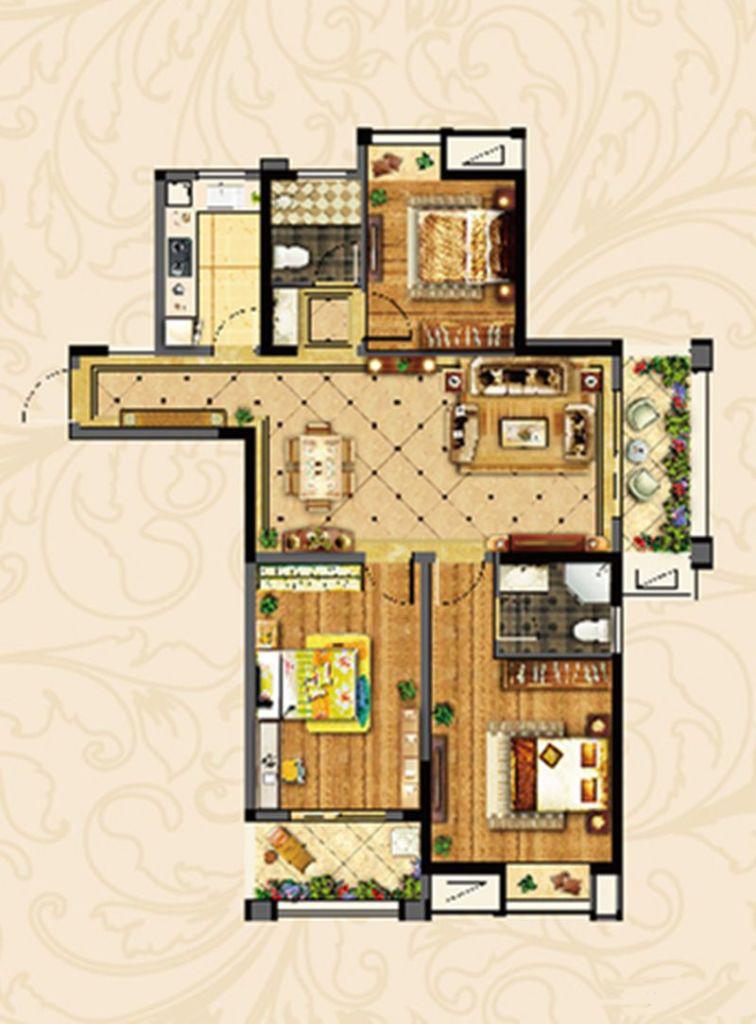 3室2厅2卫 128.23㎡